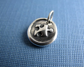 perfect fit sterling silver puzzle piece charm