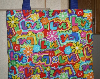 Peace Love Tote Bag Handmade Purse Limited Retro Hearts Flowers Groovy