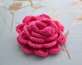 Crochet flower brooch, shawlpin, hot pink I880
