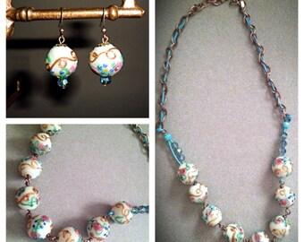Cake/vintage lamp-work bead necklace & earrings set