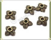 100 Antiqued Brass Leaf Bead Caps 6mm