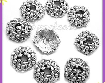 20 Antiqued Silver Flower Bead Caps 10mm