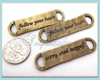 3 Antiqued Brass Follow Your Heart Message Charm Connectors