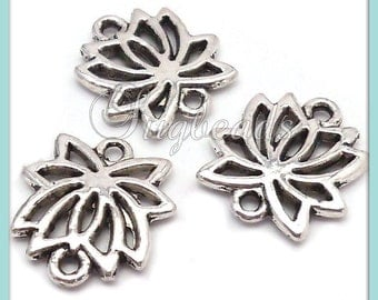 10 Antiqued Silver Lotus Flower Connector Charms 15mm