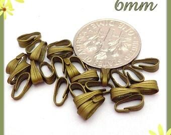 45 Antiqued Brass Clip Bails 6mm