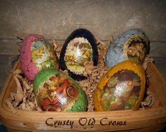 Primitive Easter Eggs with Vintage Art