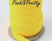5 YARDS 5/8 inches Fold Over Elastics FOE - NEON Yellow