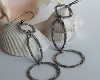 Long Oxidized Silver Earrings W Geometric Triple Loops