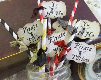 Pirate Party Straws w/tags Favor - Choose Straws & Ribbon Colors - Set of 18 - Pirate Jolly Roger Birthday Party