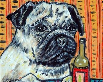 Pug, dog art, pug PRINT, beer , bar, fawn pug, dog PRINT, pug art