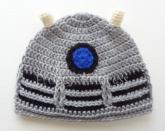 Dalek Hat Doctor Who Inspired S /M Adult or Teen Size Hand Crocheted