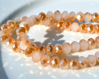 White Opal and Gold Pearl Coat 8mm Crystal Rondelle Beads   10