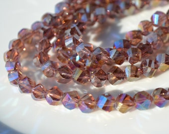 Amethyst AB 7mm Twist Faceted ROndelle Beads   25