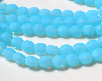 Baby Blue Opal 6mm 2 way faceted fire polish Round Beads  25