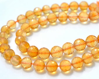 AAA Quality Citrine Faceted 6mm Round Beads  6