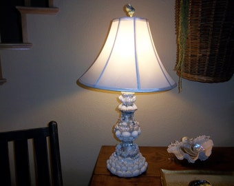 Beach Decor-One of a kind Sea shell Embellished Lamp w/ Shade Free Shipping