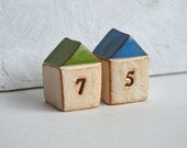 Housewarming, new house gift  ... TWO handmade number houses, custom made to order, with your house number