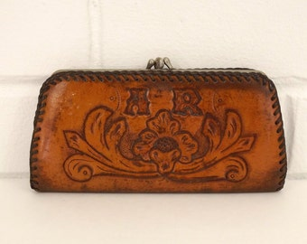 Vintage 50's Wallet, Tooled Leather, Handmade