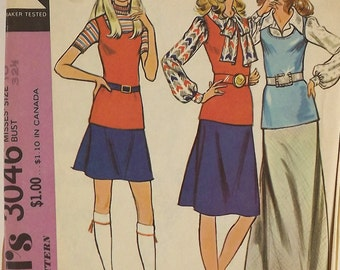Vintage 70's Sewing Pattern Blouse Skirt Misses Separates Tank Top Mini Skirt Retro Sewing Pattern A-line Skirt McCall's 3046 Size 10