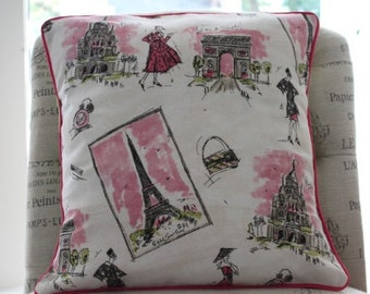 Tres Chic Paris Pillow Cover Retro Paris Pillow Cover