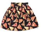 Black Pizza Print Cupcake Skirt
