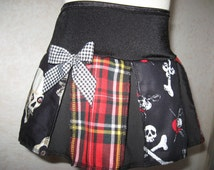 FestivalGoth,Punk,Rock,Black,white,Red Pirates,Tartan,vampire Skulls Skirt,,-All Sizes Sequoia