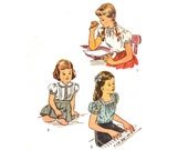 Vintage Sewing Pattern 1940 Girls Peasant Blouse Square Neck Blouse Unprinted 40s Sewing Pattern size 12 Breast 30 Simplicity 1209