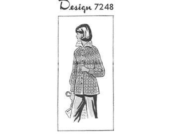 Vintage Knitting Pattern 70s Cardigan Sweater Jacket Mail Order Button Front Collar Yoke  Long Sleeve Alice Brooks Design 7248