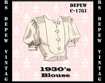 Vintage Sewing Pattern 1930's Blouse in Any Size Depew C-1761 - Plus Size Included -INSTANT DOWNLOAD-