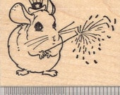 Fourth of July Chinchilla Rubber Stamp, Uncle Sam Hat and Fireworks G20412  Wood Mounted
