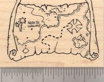 Pirate Treasure Map Rubber Stamp  J21015 WM