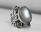 Moonstone Statement Ring - Rainbow Moonstone Swirl Ring - Unique Silver Moonstone Jewelry - Antique Swirls - Vintage Inspired Filigree Ring