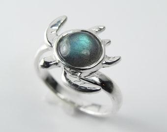 Sea Turtle Ring - Gemstone Turtle Jewelry - Unique Labradorite Sterling Silver Turtle Totem - Nautical Sea Life - Green, Blue, Aqua