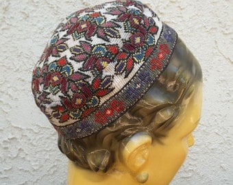 SALE...Vintage Hand Embroidered Needlepoint Wool Skull Cap Hat...A Real Beauty...Impeccable Stitching