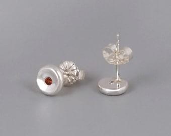 Garnet Stud Earrings, Silver Stud Earrings, Garnet Earrings Silver, Sterling Silver Earrings, Red Post Earrings, Small Studs, Dainty Posts