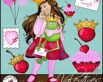 INSTANT DOWNLOAD Princess Samantha & Sir Froggy Valentines set 1 clip art graphics 10 png graphics hearts crown princess frog balloons