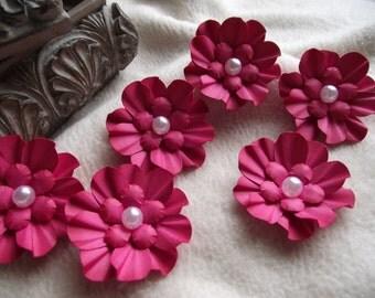 Scrapbook Flowers...6 Piece Set of Very Pretty Melon Pink Camilla Scrapbooking Paper Flower Embellishments