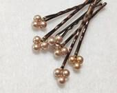 Gold Pearl bobby pins Swarovski (wedding hair pins - set of 6) wedding hair accessory