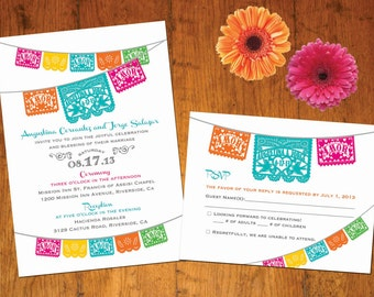 Invitation and RSVP Love Birds Papel Picado banner Fiesta Wedding, Engagement, Shower -  I design you print