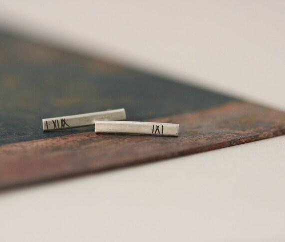Simple Line Studs - Sterling Silver Earrings