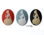 2pc 40x30mm courtesan resin cameos , choose your color  ivory on tangerine, ivory on black