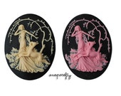 2pc 40x30mm deer and lady forest resin cameo, choose your colors: pink on black, ivory on black