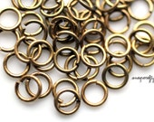 100pc antique brass jump rings 6mm / 21ga open jump rings / high quality lead-free, nickel-free hypoallergenic findings