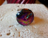 Beautiful Artisan Dichroic Glass Ring Wide Silver Band Adjustable Fuchsia