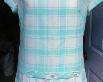 VINTAGE PLAID DRESS, Mint and Cream, mid century, spring wear, usa made
