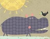 Hippo with Bird and Fish 8x10 giclee print children's art poster nursery art