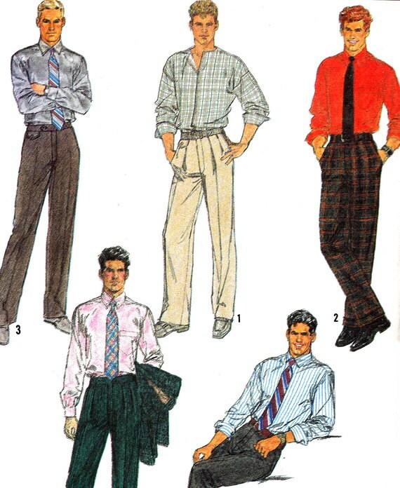 1980s Mens Pants Pattern Simplicity 8784 Mens Dress Or Casual