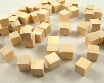 200 Wood Blocks, Square - Letter Blocks, Game Cube - Wood Cube, Cube - 1/2 inch Unfinished Wooden Blocks for DIY