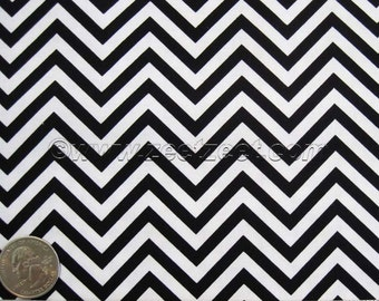 Small Scale CHEVRON Black & White ZIG ZAG Cotton Quilt Fabric by the Yard, Half Yard, or Fat Quarter Fq