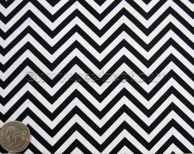 Small Scale CHEVRON Black & White ZIG ZAG Cotton Quilt Fabric by the Yard, Half Yard, or Fat Quarter Fq